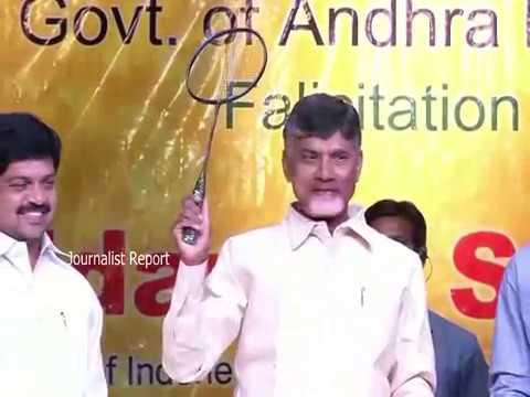 బ్యాడ్మింటన్ అడిన చంద్రబాబు AP CM Chandrababu Naidu Playing Badminton with Srikanth