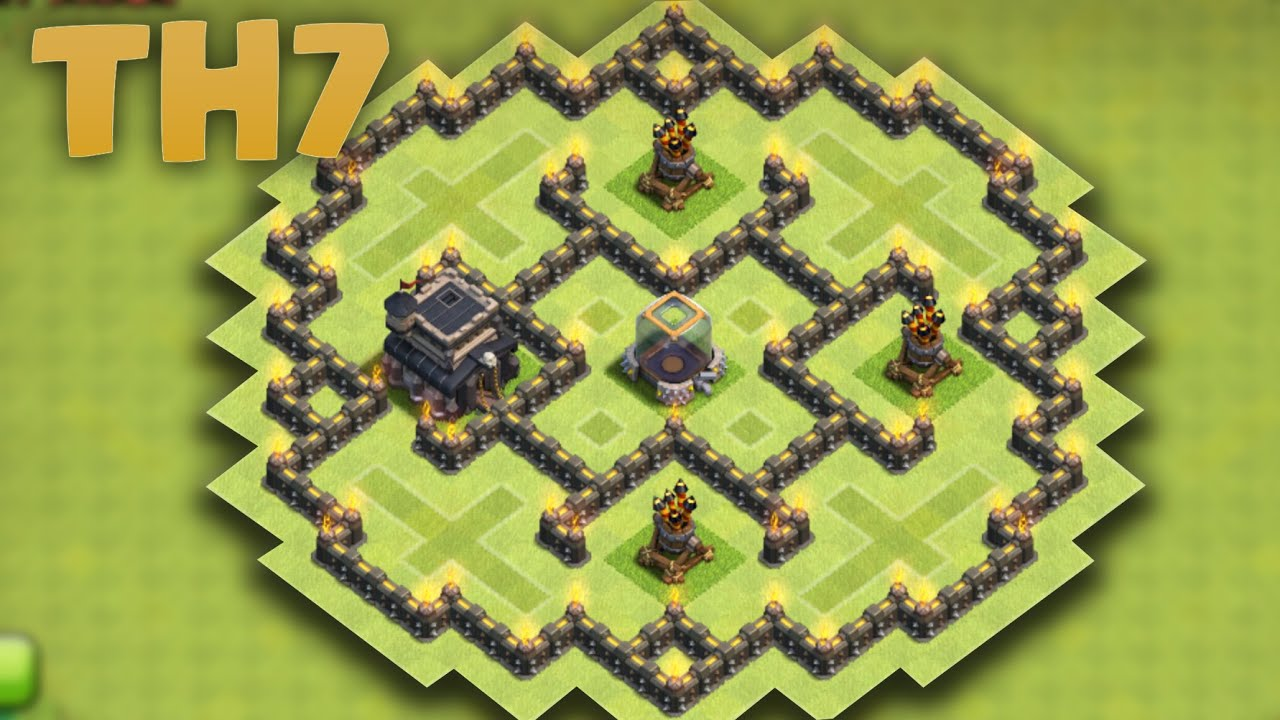 Clash of clans town hall 7 farming base th7 hybrid new update