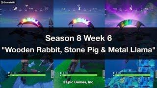 Fortnite Season 8 Week 6 Visit A Wooden Rabbit A Stone Pick In A