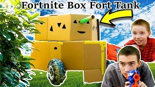 Fortnite Cardboard Box Fort Tank In Real Life - Nerf Battle Royale!