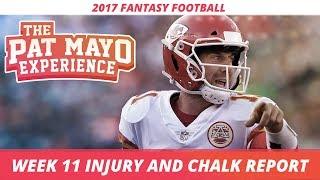 2017 Fantasy Football - Week 11 NFL Injury Report & DraftKings Milly Maker Chalk Picks and Pivots thumbnail