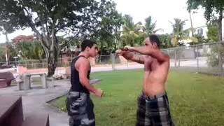 dad n son slap boxing part2