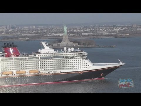 Disney Fantasy cruise ship horn sounds upon arrival in New York Harbor