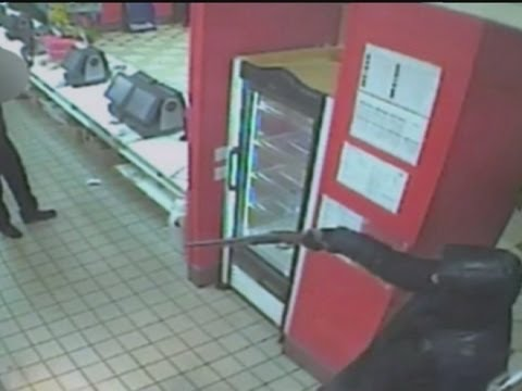 Armed robbery at McDonald's in north London captured on CCTV