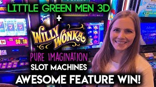 First Try on Little Green Men Slot Machine + Awesome Oompa Loompa Feature on Pure Imagination!