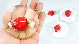 DIY Strawberry Raindrop Cake ! Water Cake Recipe (Ooho) MonsterKids
