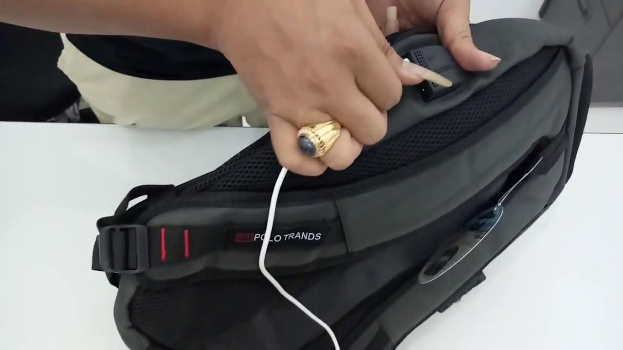 Cara Pasang Kabel Powerbank Pada Ransel Polo Trands Youtube Tas Laptop Anti Maling Ada Port Usb Dan Handset