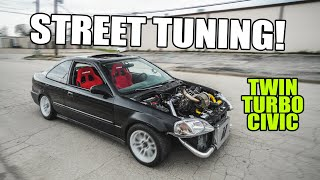 homepage tile video photo for STREET TUNING the TWIN TURBO CIVIC!!
