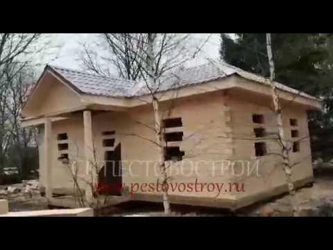 Сруб дома под усадку от компании ПЕСТОВОСТРОЙ