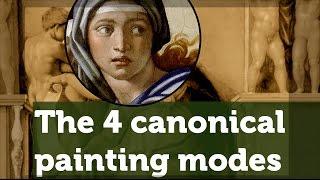 The four canonical painting modes of the Renaissance: sfumato, unione, chiaroscuro, cangiante