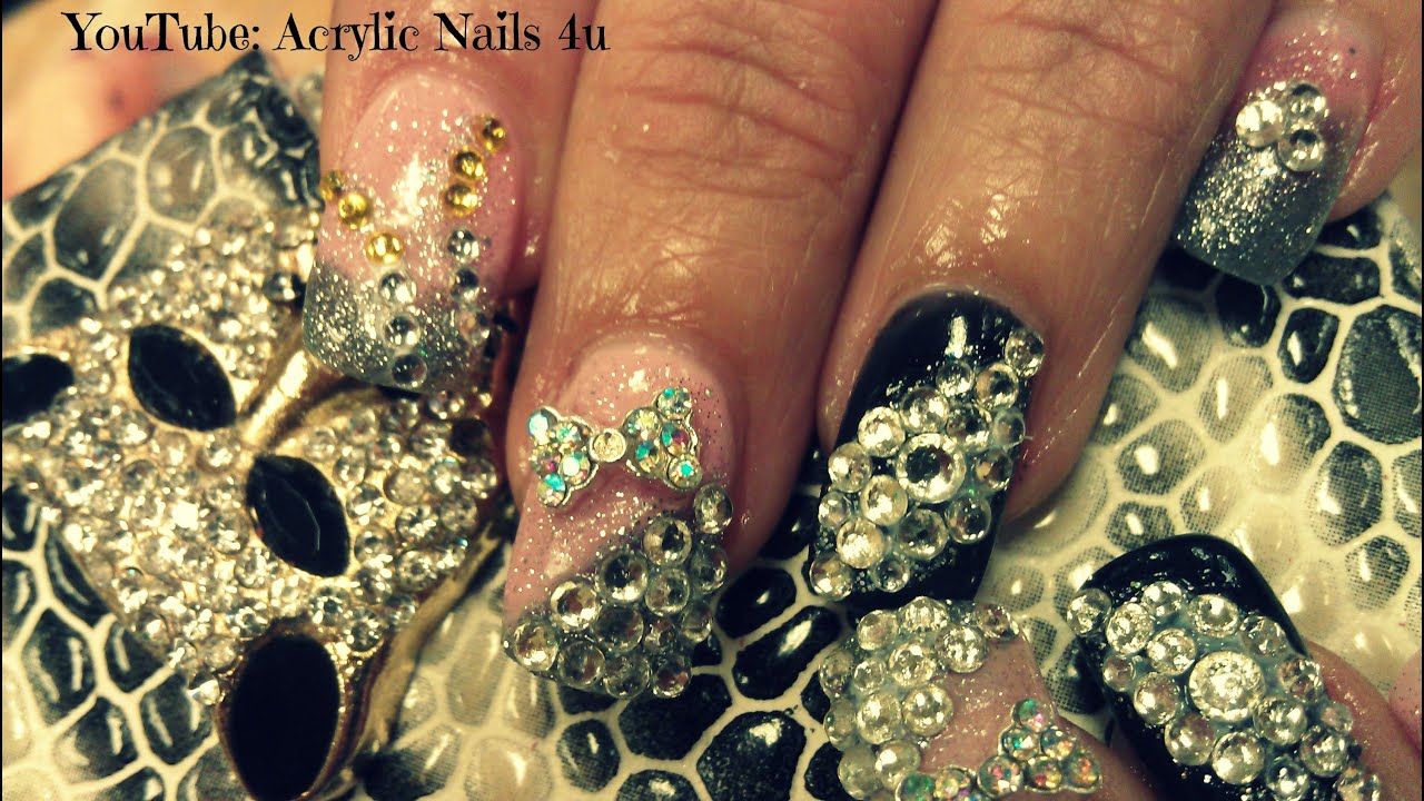 Million Dollar Nails Design Acrylic Nails Bling Youtube