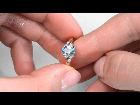 Blue Topaz Engagement Ring In 9K Gold - E5357