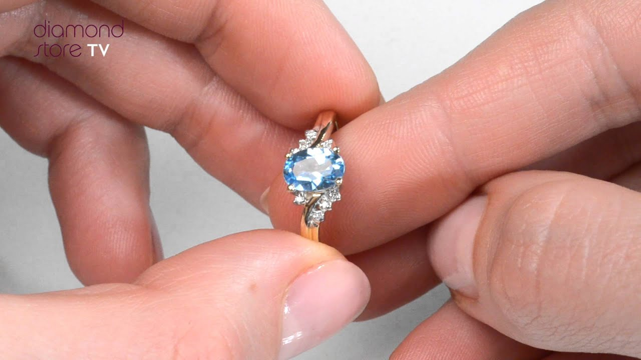 Blue Topaz Engagement Ring In 9K Gold - E5357 - YouTube