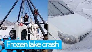 Car Falls into Frozen Lake in China