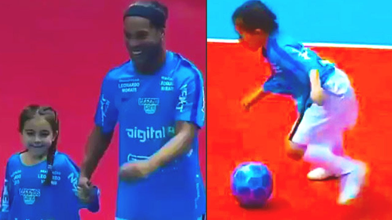 What the hell she is doing? This 9-year-old girl is INSANE! Ariana dos Santos - Ronaldinho and Barca