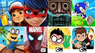 Subway Surfers 2018 New York VS Miraculous Ladybug Temple Run 2 Sonic Dash Minion Rush Spider Man