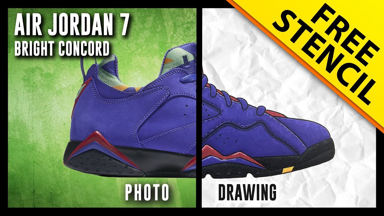info for efaee c394a Air Jordan 7 Low NRG Bright Concord - Sneaker Drawing w  FREE stencil