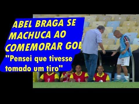 """Técnico do Fluminense, Abel Braga se Machuca ao comemorar gol! """"Pensei que tivesse tomado um tiro"""""""