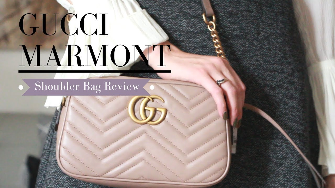d25343ebdf5e Gucci Marmont Shoulder Bag Unboxing + Nude vs Taupe colour debate ||  Nataliastyle