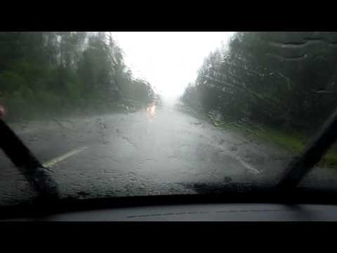 Въезд в ливень! Граница дождя!