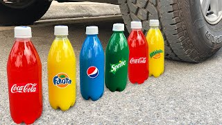 Experiment Car vs Coca Cola vs Fanta vs Mentos Car vs Pepsi - Crushing crunchy & soft things by car!