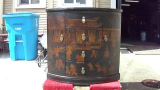 Black Narrow Gold Painted Leather Altar Table Cabinet Wk1807