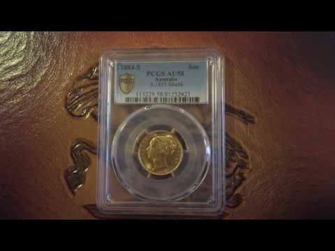 1884(s) full gold sovereign shield PCGS AU58