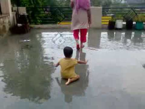 Ruhi little baby rain dance.