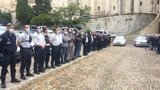 Avignon : environ 80 policiers mécontents réunis devant le Palais des Papes