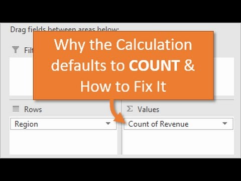 Pivot Table Calculation Type Default to Sum Instead of Count
