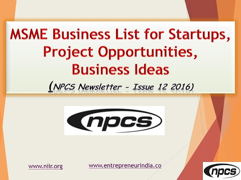 MSME Business List for Startups, Project Opportunities, Business Ideas