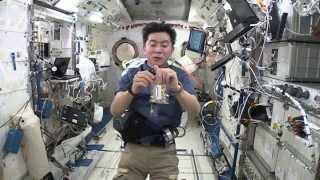 宇宙でのピーナツの食べ方を実演する油井宇宙飛行士 (撮影日:2015年9...
