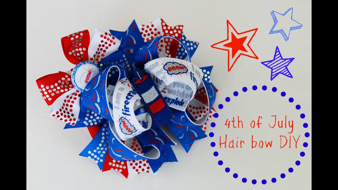 let s make a stacked boutique hairbow 4th of july bow tutorial