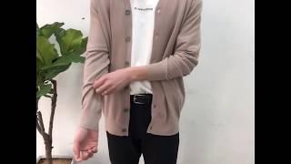 부드러운 캐시미어 기본 가디건-베이지