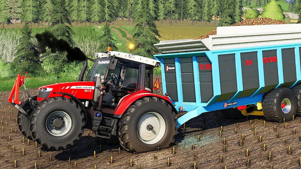 Massey Ferguson 5600 EDIT Test with Heavy trailer, Cultivator & Plow in the MUD (FS 19)