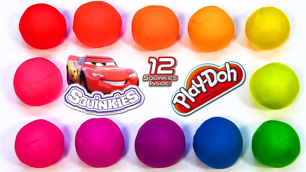 12 Play-Doh Rainbow Surprise Eggs with Disney Cars 2 Squinkies Series 2 Lightning McQueen