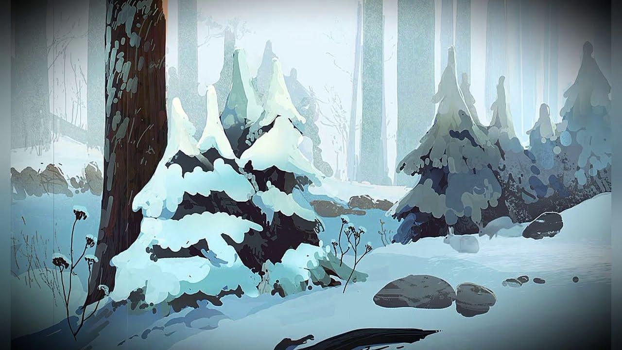 освещении картинка снежного леса срисовать виды