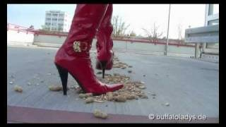 Azra Crush Nuts And Bones In Red High Heel Boots - Buffalos