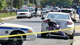 High risk standoff: Cops hide behind cars with guns drawn - Des policiers dégainent à Longueuil