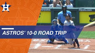 The Astros rolled through Texas, Oakland and Kansas City with 10 st...