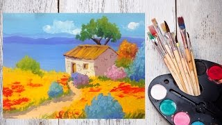 Видео урок Рисуем пейзаж гуашью в стиле Прованс(В этом видео уроке, предлагаю вам создать кусочек французской деревни! Окунемся в мир тепла и уюта! Для рабо..., 2014-10-30T05:31:39.000Z)