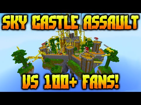 INSANE SKY CASTLE SIEGE vs 100+ FANS in MINECRAFT