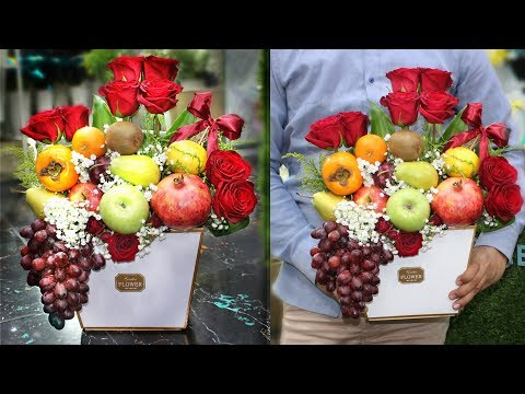 Fruits Bouquet || How To Make A Fruits Bouquet With Flowers, Fruit Arrangement In A Box