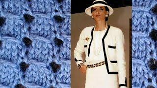 Простой узор спицами, с протяжками, для вязаного жакета Шанель. Вязание: простые узоры спицами