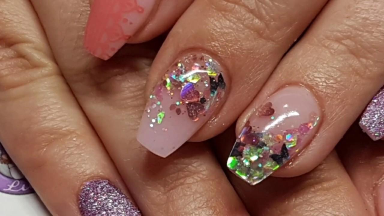 Pink Frosty Nails, Acrylic Salon Redesign, Embedded Glitter, Sugar ...