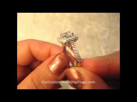 Princess Cut Diamond Simulant Center Halo Engagement Ring