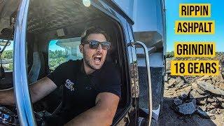 Millennial Driving Tri-Axle Dump Truck (Ripping Asphalt On-Site)