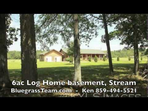 6ac Log Home, basement, Stream Harrodsburg, KY farm for sale Kentucky