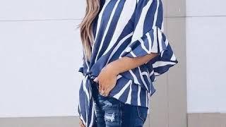Sweet Off Shoulder Chiffon Blouse Shirt Women Stripe Half Butterfly Sleeve