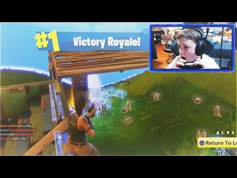 MY LITTLE BROTHER REACTS TO HIS FIRST WIN... (FORTNITE BATTLE ROYALE 8 KILL VICTORY)